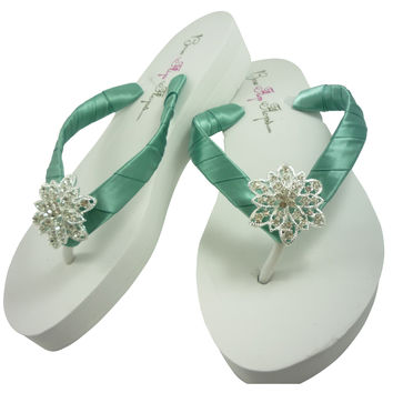 Sea Mist Green, Ivory or White Heel  Vintage Flower Wedding Wedge Flip Flops