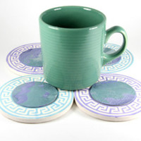 4 Iridescent Coasters, Hand Decorated Tile Coasters, Handmade Tiles, Green, Purple, Turquoise,Blue, Coffee Coaster, Tile Art, Tile Coasters