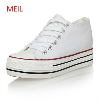 6cm Women Sneakers Thick Bottom Denim Wedge Female Canvas Shoes For Women Sneakers Platform Beatherable Woman Casual Shoes White