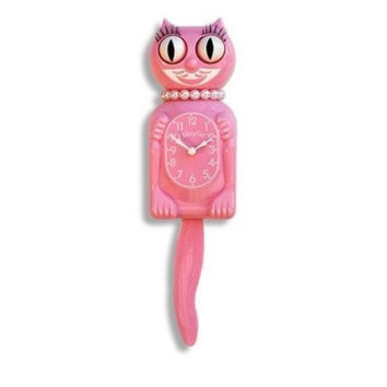 Limited Edition Pink Miss Kitty-Cat Clock w/ Wagging Tail
