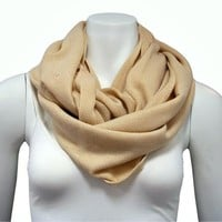 Luxury Divas Beige Knit Solid Color Circle Eternity Ring Scarf