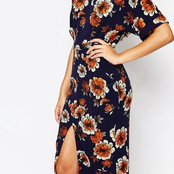 ASOS Split Front Wiggle Dress In Large Floral Print at asos.com