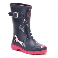 Joules Youth French Navy Unicorns Wellington Boots