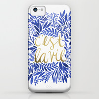 That's Life – Gold & Blue iPhone & iPod Case by Cat Coquillette