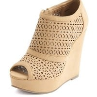 Perforated Nubuck Wedge Bootie: Charlotte Russe