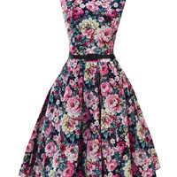 Dark Blue Peony Print Sleeveless Sheath Tent Mini Dress