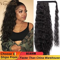 Ponytail Vigorous Corn Wavy Long  Synthetic Hairpiece Wrap on Clip Hair Extensions Ombre Brown Tail Blonde Fack Hair