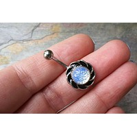 Round Moonstone Silver Belly Button Ring Jewelry