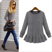 Long-Sleeve Ruffle Hem Knitted Sweater