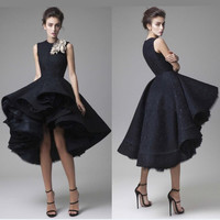 Robe de Cocktail 2017 Black Lace Cocktail Dresses Short Front Long Back Hi Low Party Dress Short Prom Dress