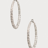 bebe Womens Crystal Hoop Earrings Crystal