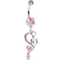 Pink Gem Intricate Hearts Dangle Belly Ring | Body Candy Body Jewelry