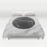 Real Carrara Italian Marble and Black Duvet Cover by Cafelab