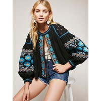 Embroidered Swingy Jacket With Lantern Sleeves Boho Black Turquoise & Orange Embroidery Puffed Sleeves Peasant Top Small Medium Or Large