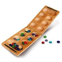 Mancala African Stone Folding Travel Game 17L