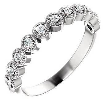 Juliette Round Moissanite or Diamond 1/2 Eternity Prong Set Milgrain Bezel Band