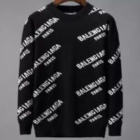 Balenciaga 2019 new tide brand knit letters men's comfortable round neck pullover sweater