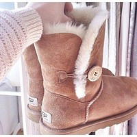 """UGG"" Women Fashion Wool Snow Boots Calfskin Shoes A button"