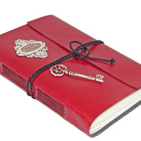 Key To My Heart Large Faux Leather Journal - Choice of 6 colors -
