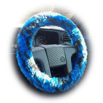 Royal Blue and Black fuzzy tiger stripe car steering wheel cover