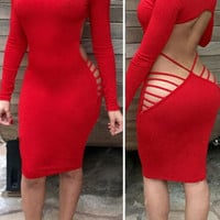 Sexy Long Sleeve Open Side Back Cut Out Club Bodycon Dress