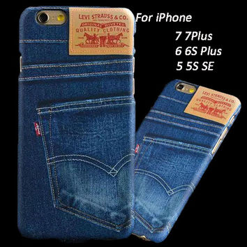Coque For iPhone 7 Case Fashion Denim Jeans Skin Hard Back Case for iPhone 7 7Plus 6 6S Plus 5 5S SE Cover Ultra Thin Funda Capa