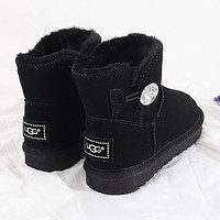 UGG New Couple Diamond Buckle Mid-Cut Snow Boots Shoes