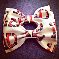 One direction British flag  handmade fabric bow tie or hair bow