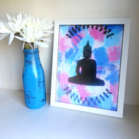 Hippie Zen Bohemian Buddha 8.5 x 11 inch art print for baby nursery, dorm room, or home decor