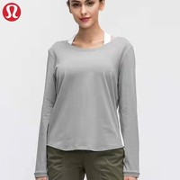 Lululemon New fashion solid color women sports leisure breathable long sleeve top sweater Gray