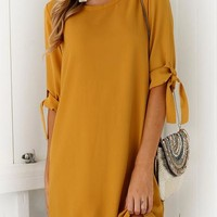 Orsle Yellow Shift Mini Dress