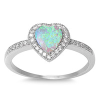 Sterling Silver Micro Pave Halo Created White Opal Heart Ring
