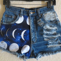 ALL SIZES: Moon high waisted denim shorts