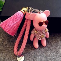 Luxury Leather Rope Car Keychain Keyring Handmade Rhinestone Crystal Bear Key Chain Tassel Keychain Handbag Accessories Gifts