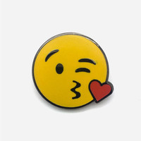 PINTRILL Blowing Kiss Face Pin | Pins + Patches