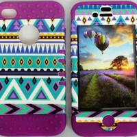 Cellphone Trendz (TM) Hybrid High Impact Bumper Case Blue Green Aztec Tribal / Purple Silicone for Apple iphone 4 iPhone 4s