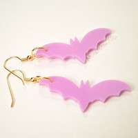 Pastel Goth Earrings Lavender Bat Creepy Kawaii Gold