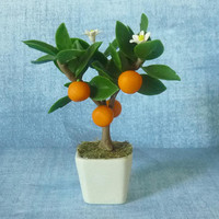 "Orange fruit pot 4 1/4"" fruit tree pot/ Miniature clay tree/ miniature plants/ Dollhouse fruit plants/ Miniatures"