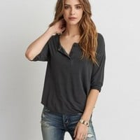 Don't Ask Why Lace-Up T-Shirt , Black | American Eagle Outfitters