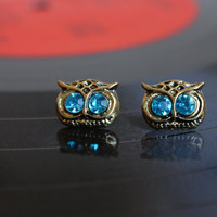 Pair of Super Cute Mini Owl Stud Earrings. Animal Earrings. Alloy Earrings with Blue Artificial Diamond. Affordable Gift for Student.