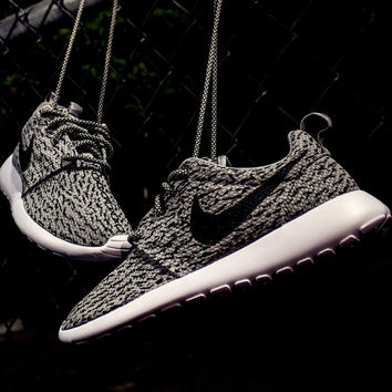 Nike Roshe Womens Grey with Custom Yeezy 350 Boost Inspired Design