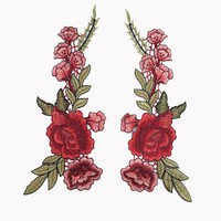 2pcs Embroidery Rose Floral Sew Patch Scrapbooking Embossed for Craft Collar Bust Dress Bag Applique