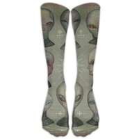 Alien Novelty Cotton Knee High All-Over Printed Socks