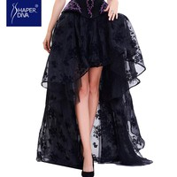 Burvogue Fashion Women Sexy Skirts Lace Corset Skirt Floral Print High Low Steampunk Maxi Skirts Summer Long Mesh Skirts