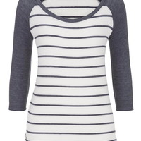 3/4 Sleeve Striped Baseball Tee - Blue Jasmine Combo