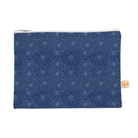 """Julia Grifol """"White Flowers on Blue"""" Navy Blue Everything Bag"""