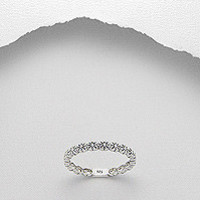 Fine 925 Sterling Silver Daisy Flower Band Ring