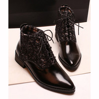 British Style Women's Short Boots With Splicing and Pointy Toe Design