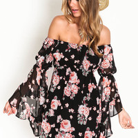 OFF SHOULDER RUFFLE BELL SLEEVE FLORAL DRESS