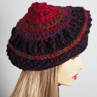 Red & burgundy slouchy beanie - Valentine hat - Ready to ship - Chunky knit rasta tam - Multicolor crochet dreads beret - Fashion knit crown
